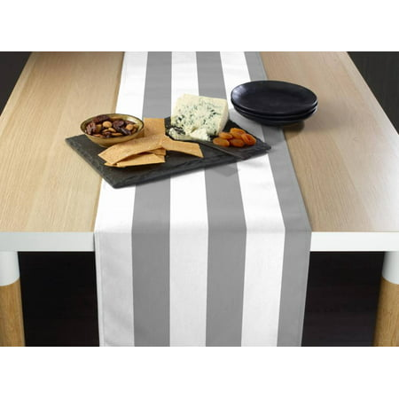 Gray & White Cabana Stripe Table Runner - Grey Table Runner