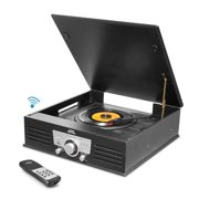 Updated Version Pyle Bluetooth Retro Turntable, Built-in Speakers, Wireless Record Player, Record Player Convert Vinyl to MP3, CD/Radio/USB/MP3, 3 Speed Turntable: 33, 45, 78 RPM