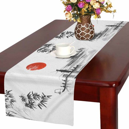 MKHERT Oriental Ink Painting Man with Boat and Bamboo Leaves Table Runner Home Decor for Wedding Banquet Decoration 16x72 Inch - Bamboo Decorating Ideas
