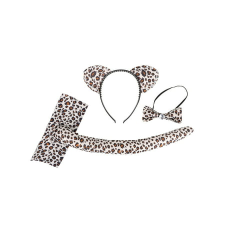 Costume Accessories - Beige Leopard Print Cat Ear Headband, Bow Tie, Tail Set - Leopard Ears And Tail