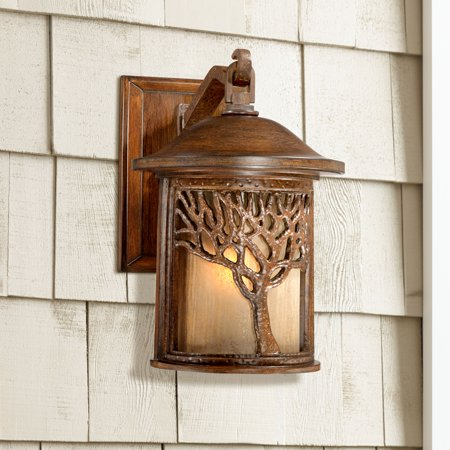 John Timberland Mission Outdoor Wall Light Fixture Bronze Tree Motif 12 1/4