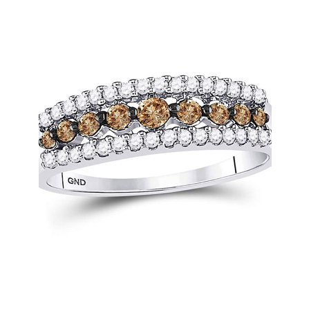 10kt White Gold Womens Round Cognac-brown Color Enhanced Diamond Triple Row Band Ring 1/2 Cttw - image 4 de 4