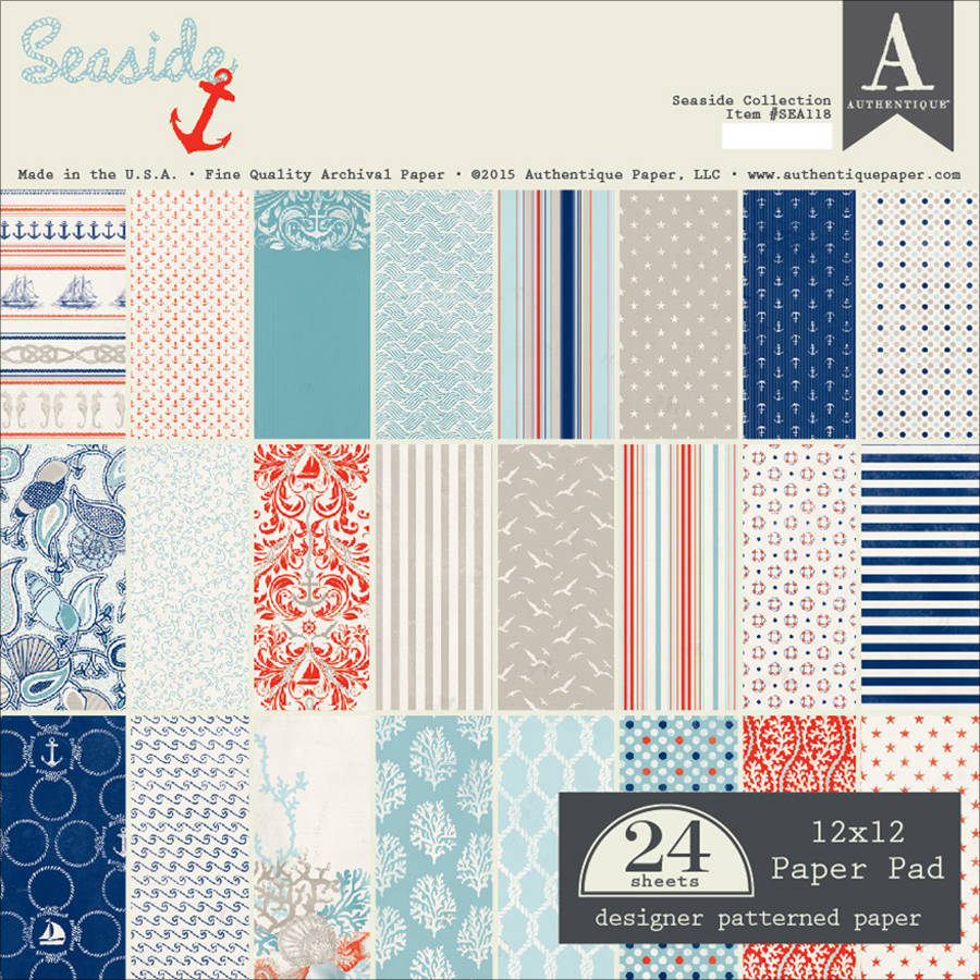"Authentique Paper Pad, 12"" x 12"", 24pk, Seaside"