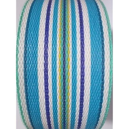 webbingpro lawn chair webbing - summertime blue stripe webbing 2 1/4 inches wide 100 feet long roll