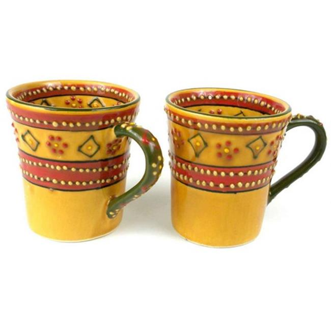Encantada Hand - Painted Flared Mugs, Red - 2 Set