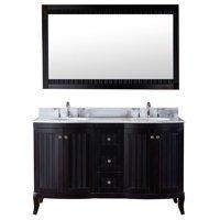VIRTU USA Khaleesi 60-inch Espresso Vanity White Marble Countertop