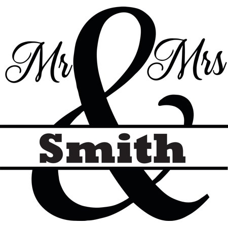 Personalized Custom Wedding Stickers (Personalized Name Vinyl Decal Sticker Custom Initial Wall Art Personalization Decor Home Living Room Marriage Mrs. Mr. Wedding Shower Gift 12 Inches X 12 Inches)