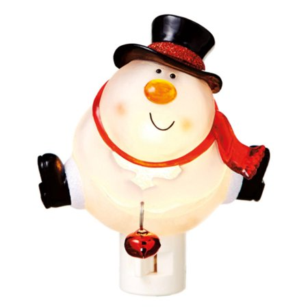 5 25   Bobble Head Snowman Holding A Jingle Bell Decorative Christmas Night Light