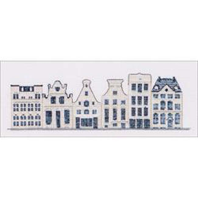 """Thea Gouverneur Counted Cross Stitch Kit 10.5""""X4.25""""-Delft Blue Houses On Aida (18 Count)"""