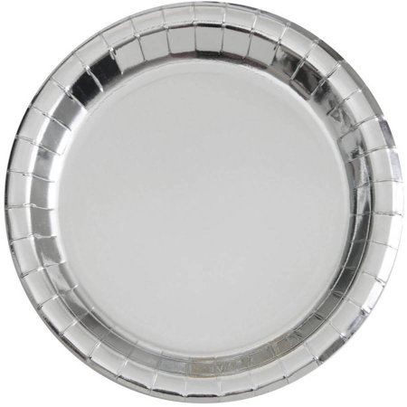 Paper Plates, 7 in, Silver Foil, 8ct - Silver Papery