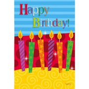 "Happy Birthday Candles Garden Flag Celebrate Cake Double Sided Banner 12.5""x18"""