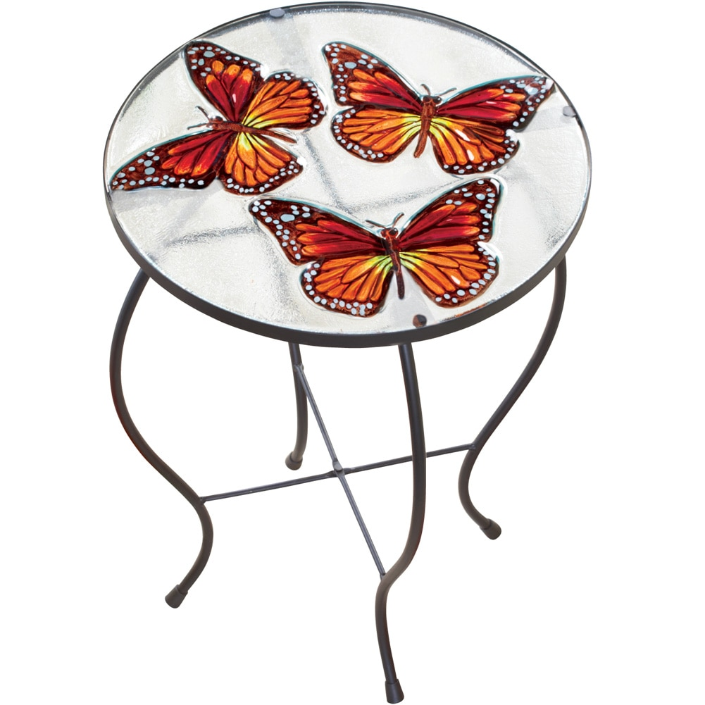 Butterfly Glass Hand Painted Round Indoor Outdoor Patio Accent Table
