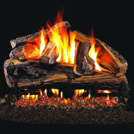 Charred Split Vented Natural - Peterson Real Fyre 24-inch Charred Rugged Split Oak Log Set With Vented Natural Gas Ansi Certified G46 Burner - Variable Flame Remote
