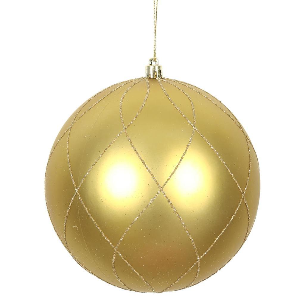 "Vickerman 471395 - 4"" Gold Matte and Glitter Swirl Ball Christmas Tree Ornament (4 pack) (N170668D)"