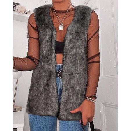 - Women Faux Fur Sleeveless Warm Open Cardigan Vest Waistcoat Outwear
