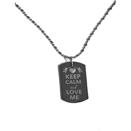Keep Calm and Love Me- Luggage Metal Chain Necklace Military Dog Tag