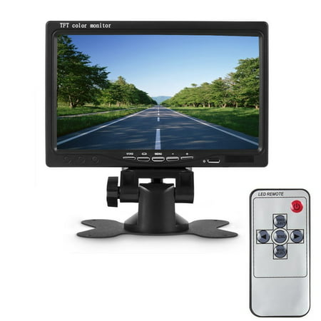 Podofo Universal 7 inch Car Vehicle Rear View Reversing color Monitor 2 Video Input & High Resolution Rotating TFT LCD Screen with Remote Control and Mounting Bracket