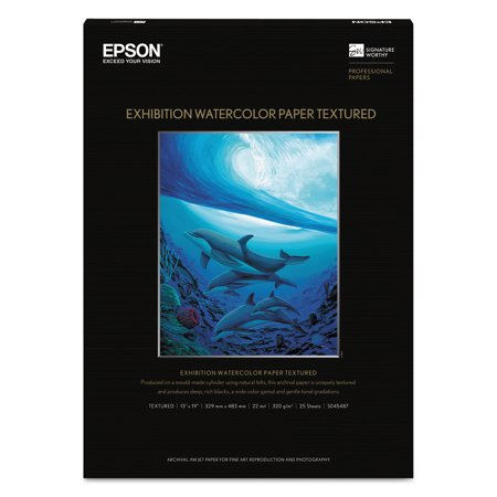 Epson Exhibition Textured Watercolor Paper, 13 x 19, White