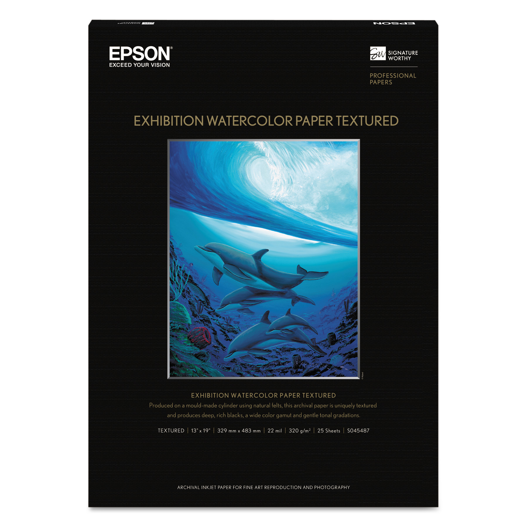 Epson Exhibition Textured Watercolor Paper, 13 x 19, White