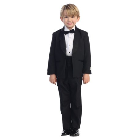 Little Boys Black No Tail Round Shawl Collar Elegant 5 Pc Tuxedo Suit - Tuxedo With Tails For Sale