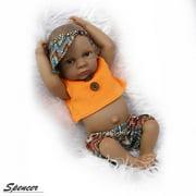 "Spencer 11"" Mini Black Reborn Newborn Baby Dolls Full Body Silicone Realistic Alive Simulation Boy Doll Xmas Gift ""Boy"""