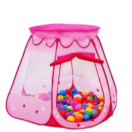 UBesGoo Ball Pit Princess Castle Play Tents for Girls - Pop Up Children Play Tent for Indoor & Outdoor Use Beautiful Playhouse Tent with Cloth Bag Pink - Castle For Girls