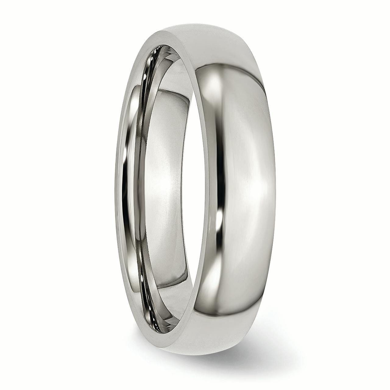 Stainless Steel 5mm Wedding Ring Band Size 8.00 Classic Domed Fashion Jewelry Gifts For Women For Her - image 5 de 6