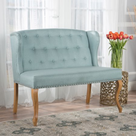 Natural Loveseat (Leanna Contemporary Tufted Fabric Wingback Loveseat, Light Blue and)