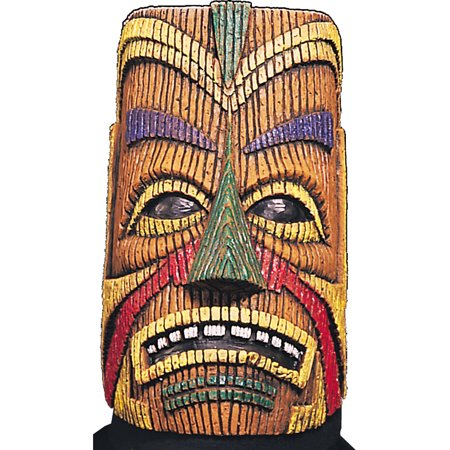 Adult Polynesian Full Overhead Latex Costume Tiki Mask](Full Latex Mask)