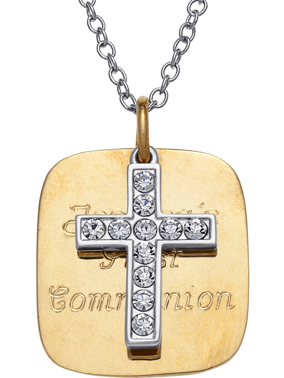 Personalized Two-Tone Square Pendant Crystal Cross Charm