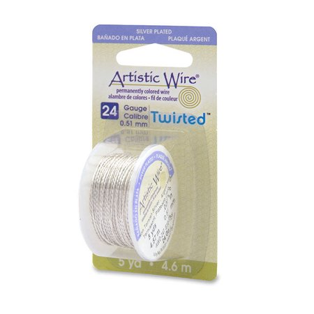 Artistic Jewelry Wire Twisted Non-Tarnish Silver 24 Gauge (5-Yards) (Twisted Wire Jewelry)