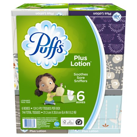 - Puffs Plus Lotion Facial Tissues, 6 Family Boxes, 124 Tissues per Box