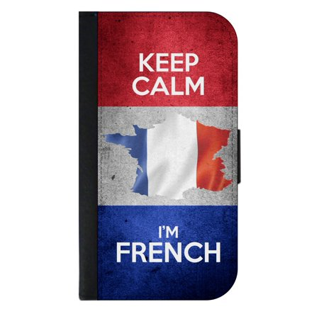 Keep Calm I'm French - Wallet Style Phone Case with 2 Card Slots Compatible with the Standard Samsung Galaxy s8 - French Style Phone