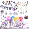 100PCs/Pack Birthday Party Decoration Theme Assorted Set - Silver Letter Star & Colorful Balloons, Confetti, Banner, Cup, Tablecloth, Napkin, Plates, Flags, Trumpets,Easter Egg Fillers