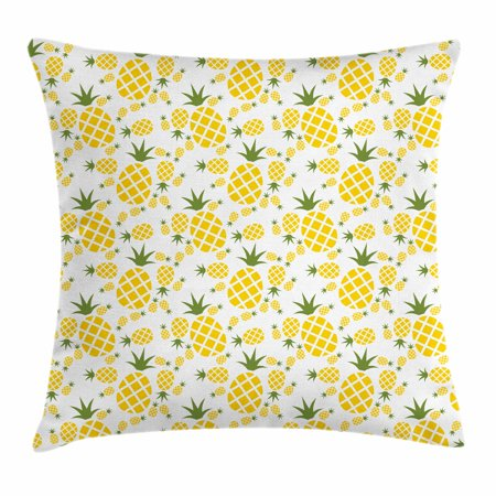 Green and Yellow Throw Pillow Cushion Cover, Rhombus Pineapple with Blooming Foliage Organic Food Design, Decorative Square Accent Pillow Case, 16 X 16 Inches, Fern Green and Yellow, by Ambesonne