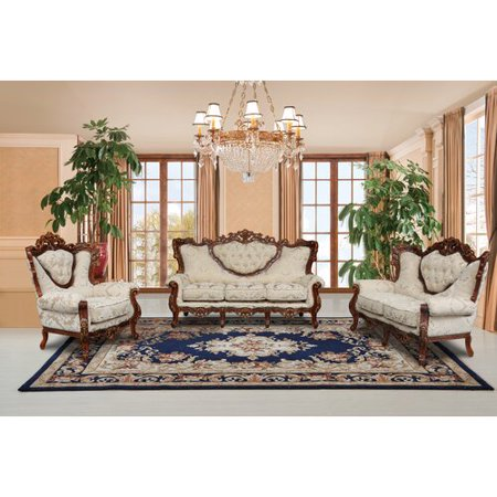 Astoria Grand Waleska 3 Piece Gold And White Embossed Fabric Standard Living Room Set