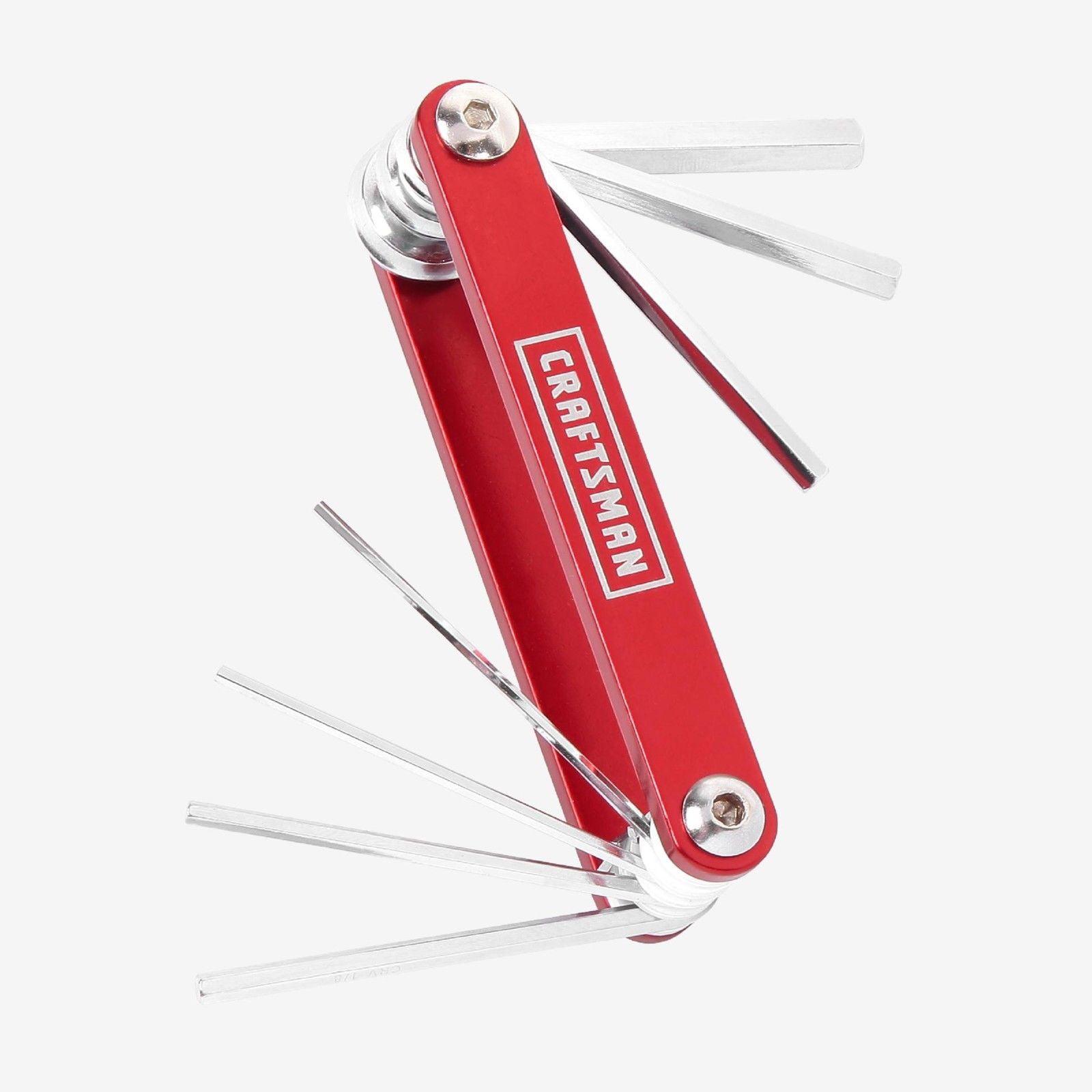 Craftsman Hex Key Set Red 7 pc. Allen Wrench SAE Metric Foldable Folding Pocket Handle CRV Hand Tool 88000
