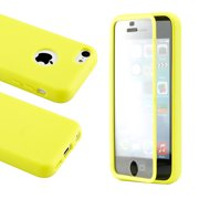 For Apple iPhone SE & 5C Yellow Hybrid TPU Wrap Up Case w/ Built in Screen Protector