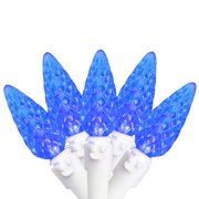 Brite Star 50ct Faceted LED C6 Christmas Lights Blue - 16.3' White Wire