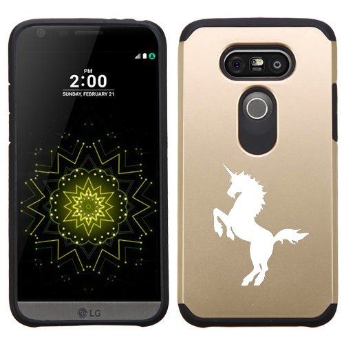 LG G5 Shockproof Impact Hard Soft Case Cover Unicorn (Gold)