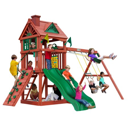 Gorilla Playsets Double Down Wooden Swing Set with 2 Slides, Built-in Sandbox Area, and - Swing Down Step