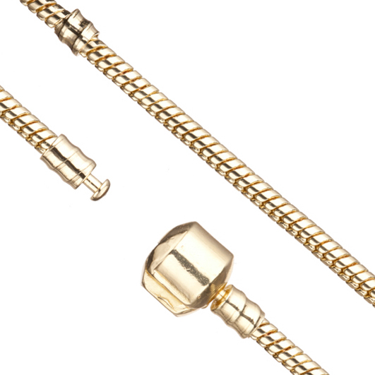 Large Hole Bead Chain (European Style) 14K-Gold Finished 2.7mm Snake 7.8 Inch Sold per pkg of 1