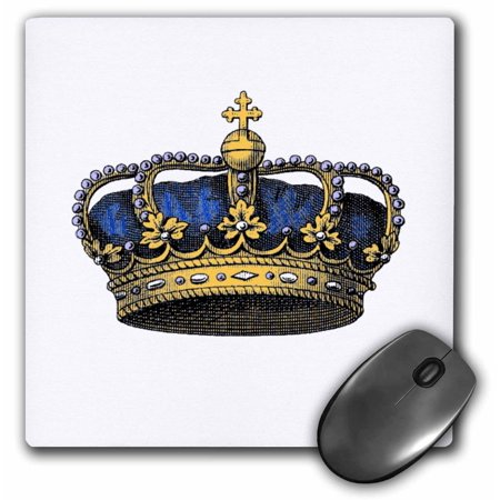 3Drose Navy Blue Crown   Vintage Art   Royal   Royalty   Gold Kings Or Princes Crown With Pearls And Cross  Mouse Pad  8 By 8 Inches