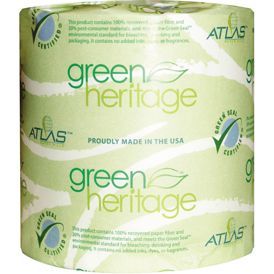Atlas Paper Mills Green Heritage Single Roll Bathroom Tissue, 500 sheets, 80 rolls