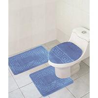 "3 Piece Bath Rug Set Pattern Bathroom Rug (20""x32"")/large Contour Mat (20""x20"") with Lid Cover (Burgundy)"