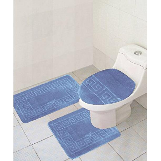 3 Piece Bath Rug Set Pattern Bathroom 20 X32 Large Contour Mat X20 With Lid Cover Sky Blue Walmart Com