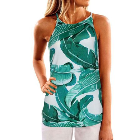 Summer Womens Fashion Casual Flower Printed Spaghetti Strap Sleeveless Top Vest - 1960 Flower Power Fashion