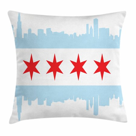 Chicago Skyline Throw Pillow Cushion Cover, City of Chicago Flag with High Rise Buildings Scenery National, Decorative Square Accent Pillow Case, 18 X 18 Inches, Red White Baby Blue, by - Scenery Buildings