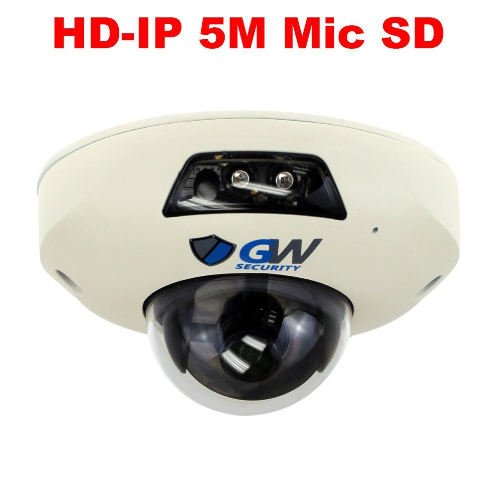 5 Megapixel Sony Starvis HD 1920P PoE 160 Degree Super Wide Angle Night Vision 2 Way Audio Security Mini Dome IP Camera Built-In Microphone and Micro SD slot, Audio Recording Power Over Ethernet