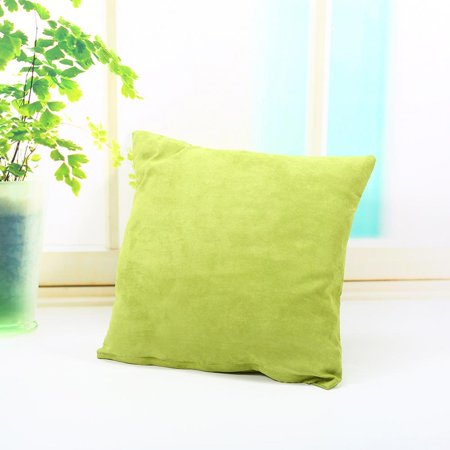 45*45cm Pillow Pure Color Sofa Seat Cushion Cover Car Bed Office Pillows Yellowish Green ()